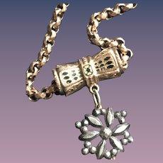 Enameled Slide Necklace w/ Steel Pendant