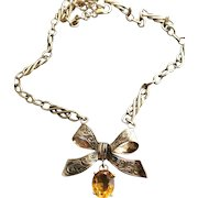 9CT Rose Gold Engraved Bow w/ Citrine Gemstone Pendant Necklace