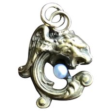 Griffin Gargoyle and Moonstone Pendants on a Fob Holder Necklace