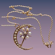14KT Gold Antique Diamond and Cultured Pearl Moon and Star Brooch