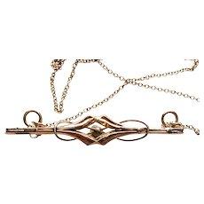 9CT Rose Gold Bar Pendant Necklace