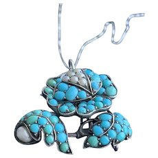Pave Turquoise Flower Pendant Set in Silver on 10KT Gold Chain