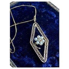 Pearl Flower w/ Diamond Center Pendant in 10KT Gold