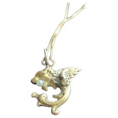 14KT Griffin Charm Necklace in Solid Gold