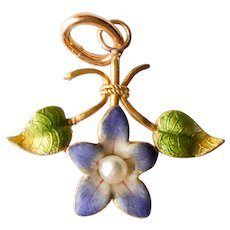 10Kt Solid Gold Enamel Flower Cultured Pearl Charm Pendant
