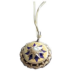 Enamel Blue Star Charm Necklace in Solid Gold