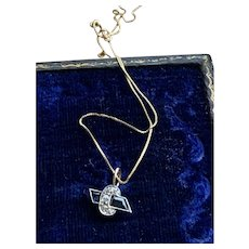 Blue Spinel and Diamond Pendant Necklace