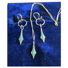 Turquoise Snake Charm Necklace and Earrings in Solid 10KT Gold