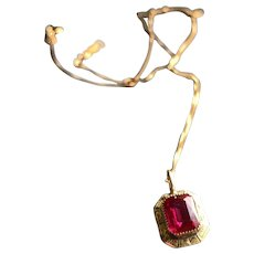 Synthetic Ruby Pendant Necklace in 10KT Gold