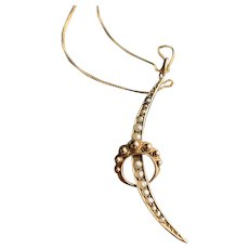 Moon Crescent  English Hallmarked 9KT Gold Pendant Necklace