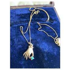Solid Gold Hand Clasping Turquoise Charm Pendant