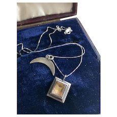 Foil-backed Quartz Silver Charm w/ Moon Pendant Necklace