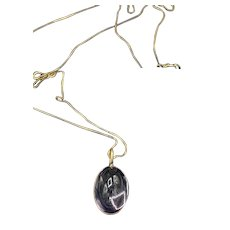 Amethyst Cabochon 10KT Gold Pendant Necklace