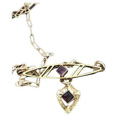 Solid 10KT Gold Brooch w/ Amethysts Pendant Necklace