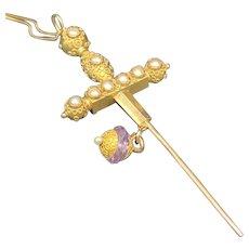 10KT Gold Sword w/ 14KT Amethyst Charm