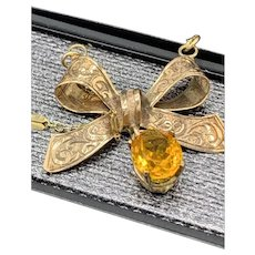 Gold Ribbon w/ Citrine Dangle Charm Bow Pendant Necklace