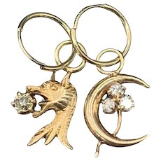 Griffin Moon Diamond and 10KT Gold Charm Hoop Earrings