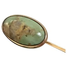 14KT Turquoise Antique Victorian Stickpin or Cravat Pin Brooch