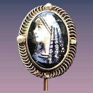 Antique Limoges Enamel  Portrait 10KT Gold Stickpin or Cravat Pin with Natural Pearls