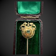 Antique Emerald 18th Century Spanish Stickpin Cravat Pin Brooch Pin w/ Appraisal