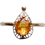 Citrine Gemstone 10KT Solid Gold Size 6