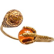 Citrine Claw Gemstone Moi Toi By Pass 14KT Gold Ring