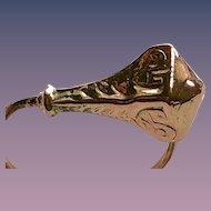 Engraved 9KT Solid Rose Gold Snake Ring