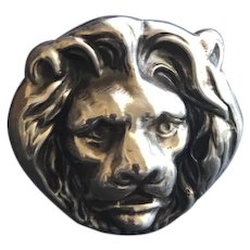 Repousse Sterling 925 Silver Lion Head Statement Ring