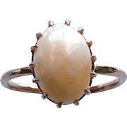 Opal Gemstone 10K Rose Gold Prong-Set Ring Upcycled