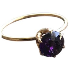 Amethyst Gemstone Solitare Ring in 10KT Gold
