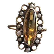 Paste and Pearl Ring in Solid 10KT Gold