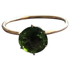 Green Tourmaline Gemstone Solitare Ring in 10KT Gold