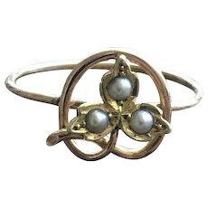 Lucky Shamrock Pearl 10KT Gold Ring