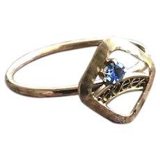 Blue Paste Delicate Solid 10KT Gold Ring