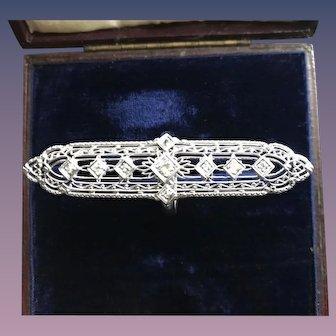 14kT White Gold Filigree Ring w/ Diamonds