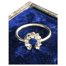 Diamond Horseshoe 14KW Yellow Gold Ring