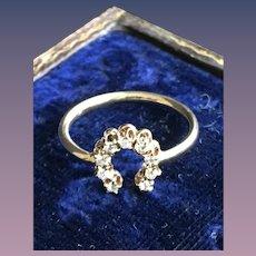 Diamond Horseshoe 14KW Yellow Gold Ring