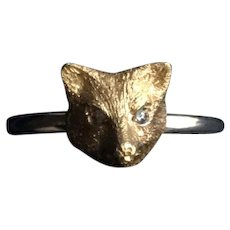 14KT Fox w/ Diamond Eyes Ring
