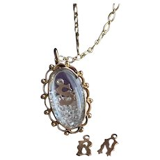Rock Crystal Shaker Locket w/ Initials in 10KT Gold