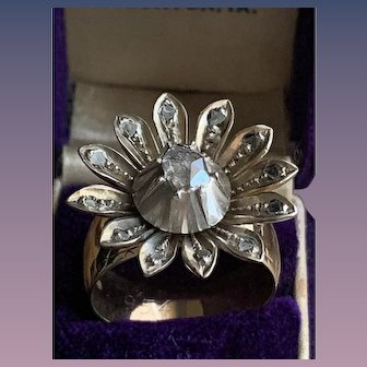 Rose Cut Flower Diamond Set in Silver on a Gold Band