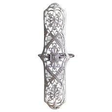 14KT White Gold Diamond Filigree Ring