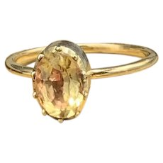 Foiled Rock Crystal Gemstone Ring in Sterling and 14KT Gold