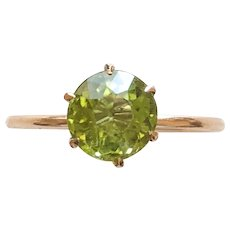 Peridot Solitare Upcycled Ring Size 5 1/2