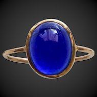 Solid 9K Gold Blue Paste Glass Size 5  Ring Upcycled