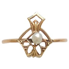 Gold Cultured Pearl Conversion Ring Size 7