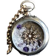Niello 800/1000 Silver Watch Case as a Shaker Locket with Amethysts, Sun Diamond Cultured Pearl & Georgian Watch Engraving