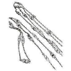 Antique Sterling Silver Watch Chain Muff or Guard Chain