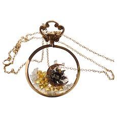 9CT Rose Gold Edwardian Shaker Mourning Locket w/ Diamonds, Hammered Moon & Stars