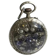 Diamond Chips, Iolite & Tanzanite Gemstone Shaker Locket with Sterling Silver Victorian Watch Chain