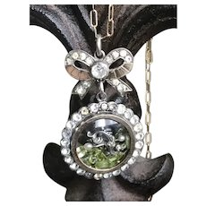 Sterling Silver Shaker Locket w/ Peridot in a Paste Locket
